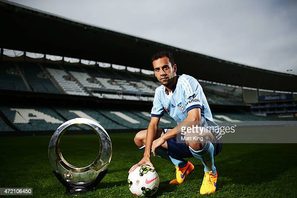 Sydney FC captain Alex Brosque poses with the ALeague trophy during a Sydney FC ALeague Semi Final media opportunity at Allianz Stadium on May 4 2015...