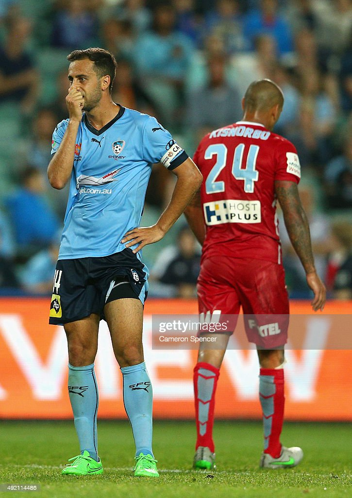 Sydney FC captain Alex Brosque reacts after taking a shot at goal during the round one A-League match between Sydney FC and Melbourne City FC at Allianz Stadium on October 10, 2015 in Sydney, Australia.