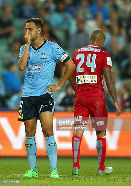 Sydney FC captain Alex Brosque reacts after taking a shot at goal during the round one ALeague match between Sydney FC and Melbourne City FC at...