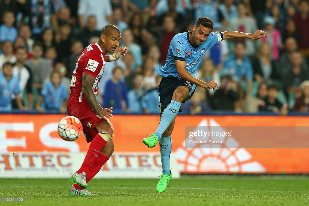 Sydney FC captain Alex Brosque takes a shot at goal during the round one A-League match between Sydney FC and Melbourne City FC at Allianz Stadium on October 10, 2015 in Sydney, Australia.