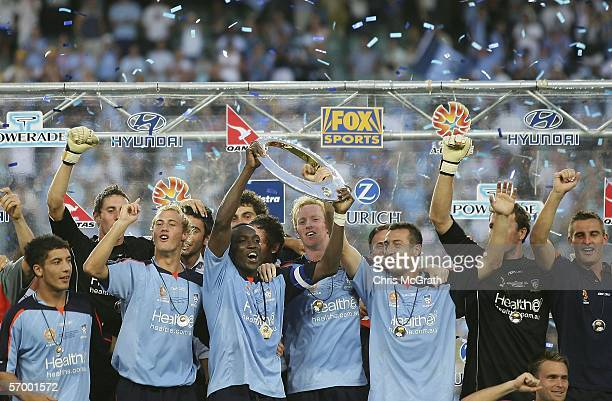 Sydney FC captain Dwight Yorke celebrates with team mates during the Hyundai ALeague Grand Final between Sydney FC and the Central Coast Mariners...