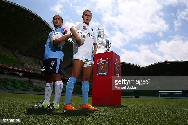 Sydney FC captain Teresa Polias and Melbourne City FC captain Steph Catley pose during a WLeague Grand Final media opportunity at AAMI Park on...