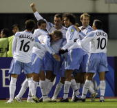 Sydney FC celebrate after their second goal during their AFC Champions League 2007 match between the Sydney FC of Australia and Shanghai Shenhua of...