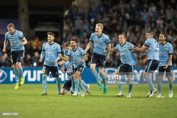 Sydney FC celebrate after winning the ALeague Grand Final during the 2017 ALeague Grand Final match between Sydney FC and the Melbourne Victory at...