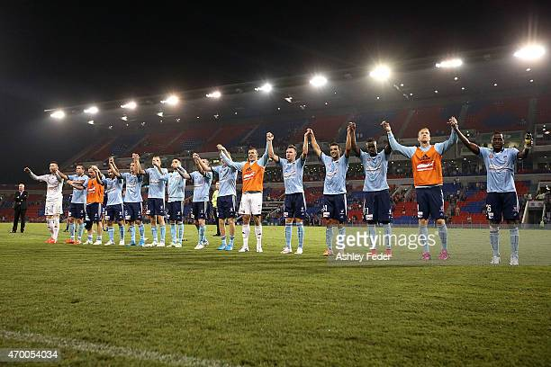 Sydney FC celebrate the win during the round 26 ALeague match between the Newcastle Jets and the Sydney FC at Hunter Stadium on April 17 2015 in...
