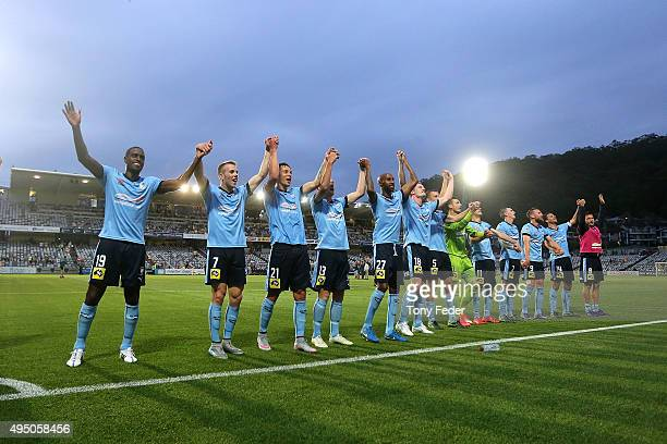 Sydney FC celebrate the win over the Mariners after the round four ALeague match between the Central Coast Mariners and Sydney FC at Central Coast...