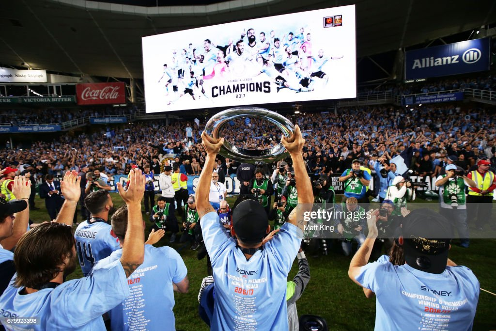 Sydney FC celebrate victory after the 2017 A-League Grand Final match between Sydney FC and the Melbourne Victory at Allianz Stadium on May 7, 2017 in Sydney, Australia.