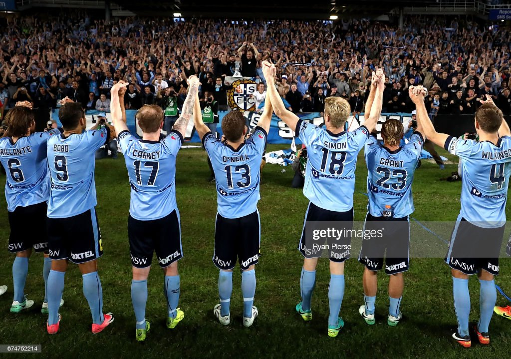 Sydney FC celebrate victory during the A-League Semi Final match between Sydney FC and the Perth Glory at Allianz Stadium on April 29, 2017 in Sydney, Australia.