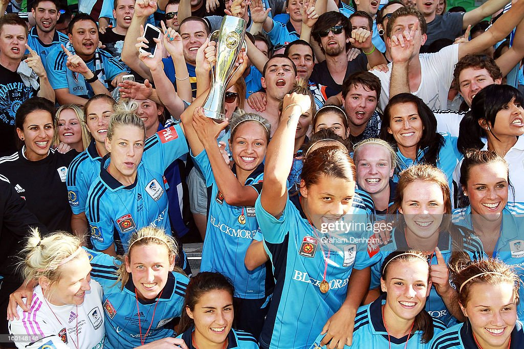 Sydney FC celebrate with fans after winning the W-League Grand Final between the Melbourne Victory and Sydney FC at AAMI Park on January 27, 2013 in Melbourne, Australia.