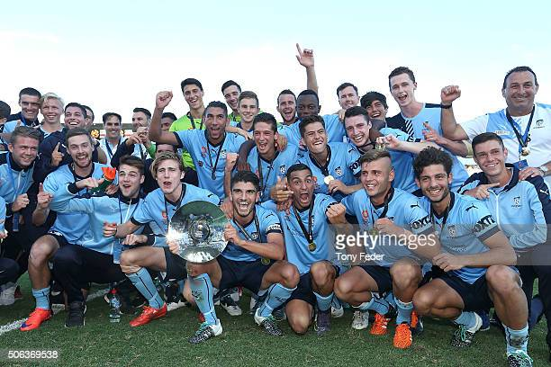 Sydney FC celebrate with the Youth League winners trophy during the National Youth League Final match between Adelaide United and Sydney FC at...
