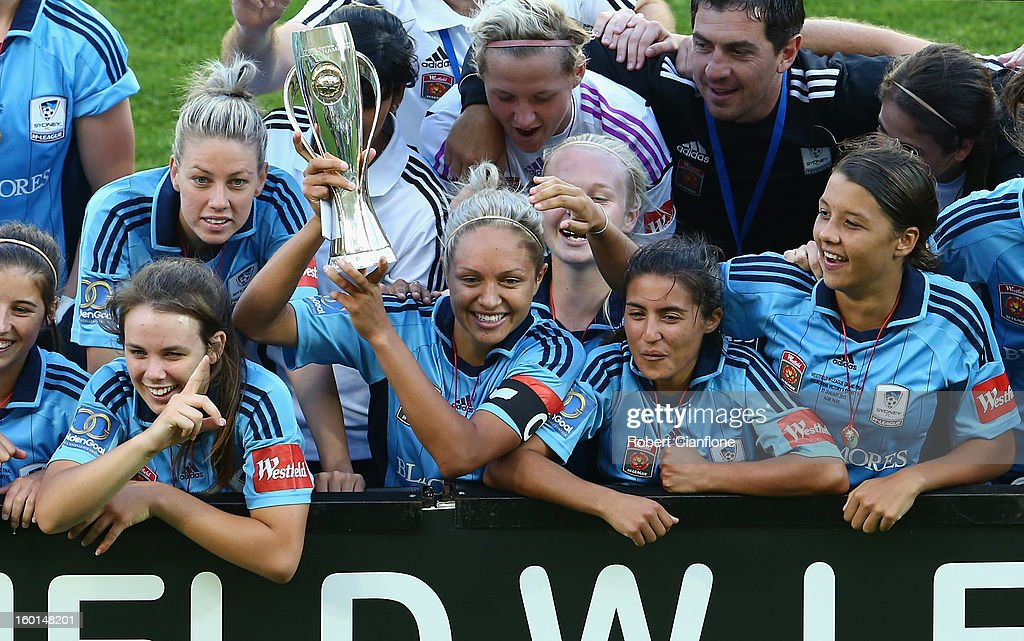 Sydney FC celebrtae after they defeated the Victory in the W-League Grand Final between the Melbourne Victory and Sydney FC at AAMI Park on January 27, 2013 in Melbourne, Australia.