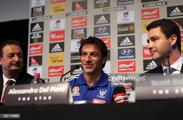 Sydney FC CEO Tony Pignata Alessandro Del Piero and Chairman Scott Barlow pose for the media during a Sydney FC ALeague press conference at The Star...
