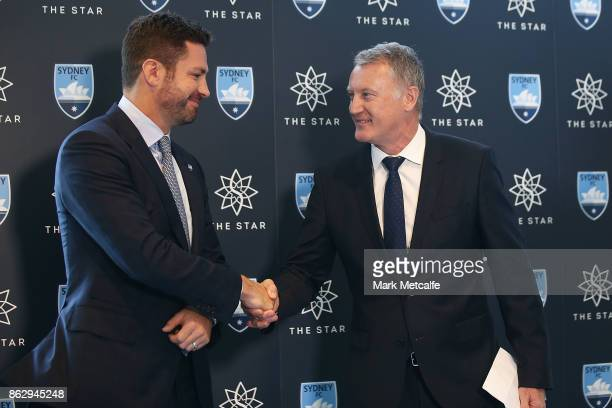 Sydney FC Chairman Scott Barlow shakes hands with The Star Managing Director Greg Hawkins during a Sydney FC ALeague sponsorship announcement at The...