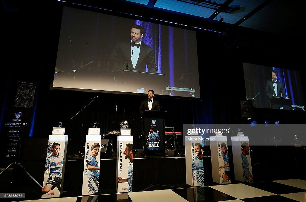 Sydney FC Chairman Scott Barlow speaks during the Sydney FC Sky Blue Ball at the Sydney Cricket Ground on May 6, 2016 in Sydney, Australia.