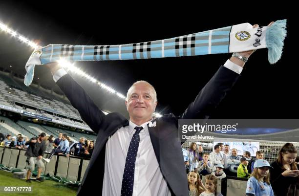Sydney FC coach Graham Arnold celebrates with the fans after the round 27 ALeague match between Sydney FC and the Newcastle Jets at Allianz Stadium...
