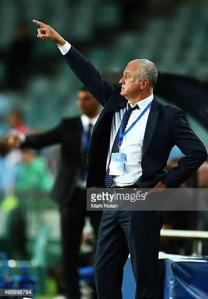 Sydney FC coach Graham Arnold instructs his team during the round five ALeague match between Sydney FC and Brisbane Roar at Allianz Stadium on...