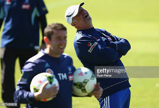 Sydney FC coach Graham Arnold looks on during a Sydney FC ALeague training session at Macquarie Uni on May 8 2015 in Sydney Australia