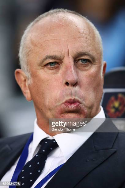 Sydney FC coach Graham Arnold looks on during the 2017 ALeague Grand Final match between Sydney FC and the Melbourne Victory at Allianz Stadium on...