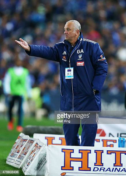 Sydney FC coach Graham Arnold looks on during the international friendly match between Sydney FC and Chelsea FC at ANZ Stadium on June 2 2015 in...