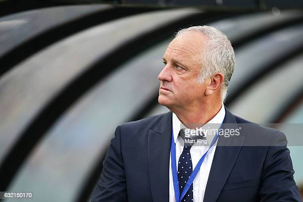 Sydney FC coach Graham Arnold looks on prior to the round 16 ALeague match between Sydney FC and Adelaide United at Allianz Stadium on January 20...