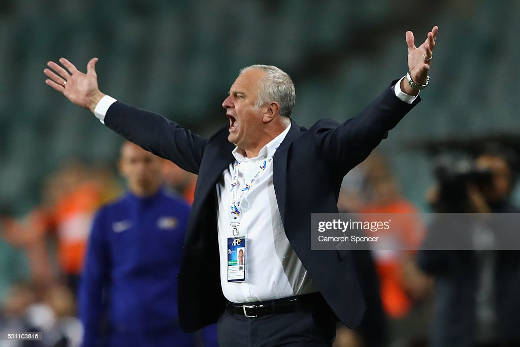 Sydney FC coach <a gi-track='captionPersonalityLinkClicked' href=/galleries/search?phrase=Graham+Arnold&family=editorial&specificpeople=545662 ng-click='$event.stopPropagation()'>Graham Arnold</a> shows his emotion during the AFC Asian Champions League match between Sydney FC and Shandong Luneng at Allianz Stadium on May 25, 2016 in Sydney, Australia.