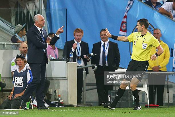 Sydney FC Coach Graham Arnold talks to referee Jarred Gillett during the round 22 ALeague match between Melbourne City FC and Sydney FC at AAMI Park...
