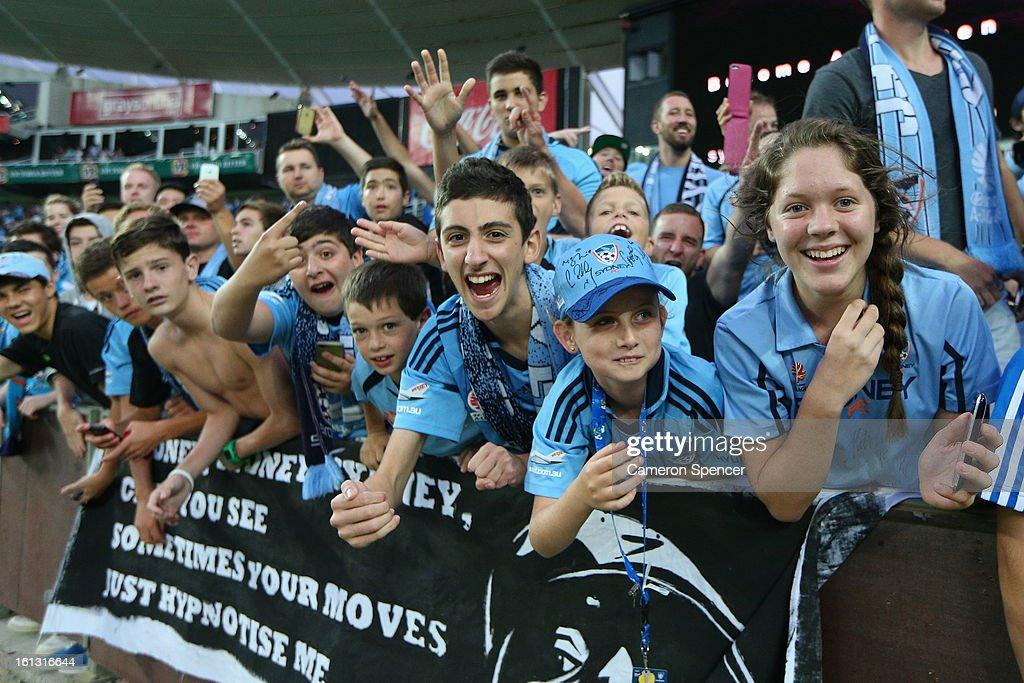 Sydney FC fans celebrate their team winning the round 20 A-League match between Sydney FC and the Brisbane Roar at Allianz Stadium on February 10, 2013 in Sydney, Australia.