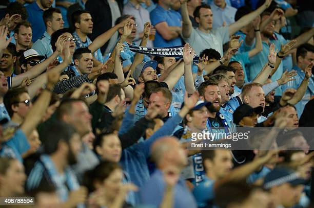 Sydney FC fans cheer during the round eight ALeague match between Sydney FC and Wellington Phoenix at Allianz Stadium on November 26 2015 in Sydney...