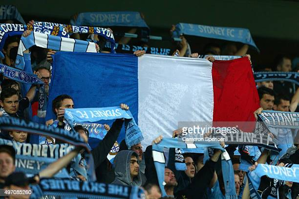 Sydney FC fans hold up a French flag during a moments silence for victims of the Paris terror attacks prior to the round six ALeague match between...