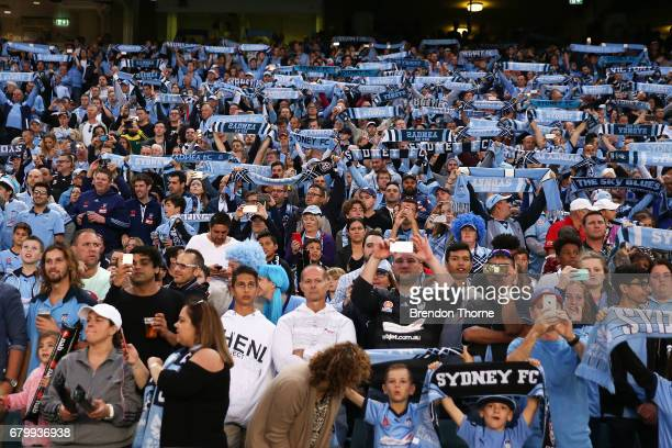 Sydney FC fans show their colours during the 2017 ALeague Grand Final match between Sydney FC and the Melbourne Victory at Allianz Stadium on May 7...