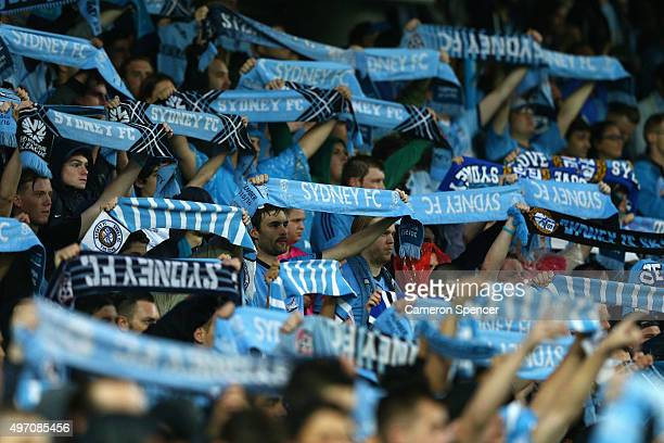 Sydney FC fans show their colours during the round six ALeague match between Sydney FC and Melbourne Victory at Allianz Stadium on November 14 2015...
