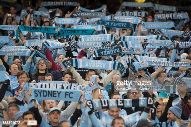 Sydney FC fans show their support during the 2017 ALeague Grand Final match between Sydney FC and the Melbourne Victory at Allianz Stadium on May 7...