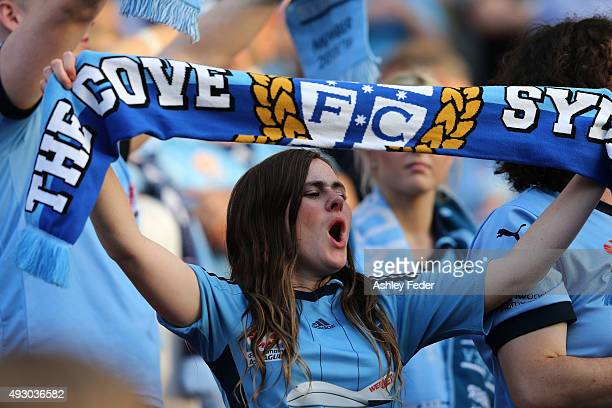 Sydney FC fans show their support during the round two ALeague match between the Newcastle Jets and Sydney FC at Hunter Stadium on October 17 2015 in...