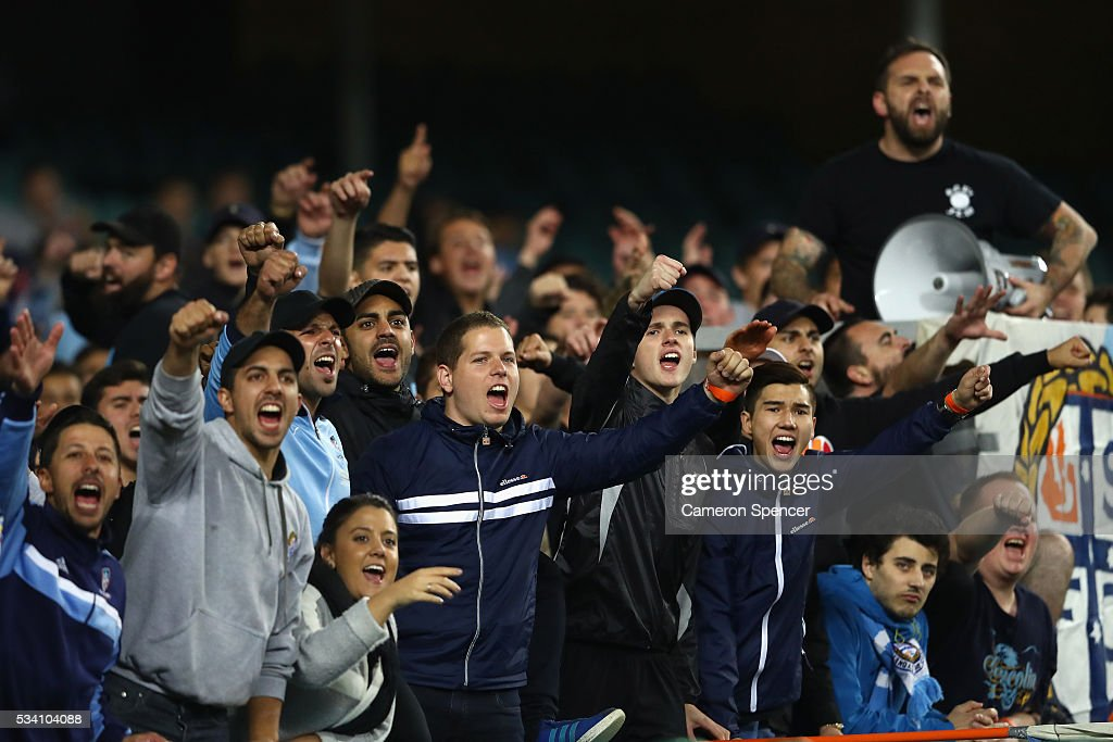 Sydney FC fans sing during the AFC Asian Champions League match between Sydney FC and Shandong Luneng at Allianz Stadium on May 25, 2016 in Sydney, Australia.