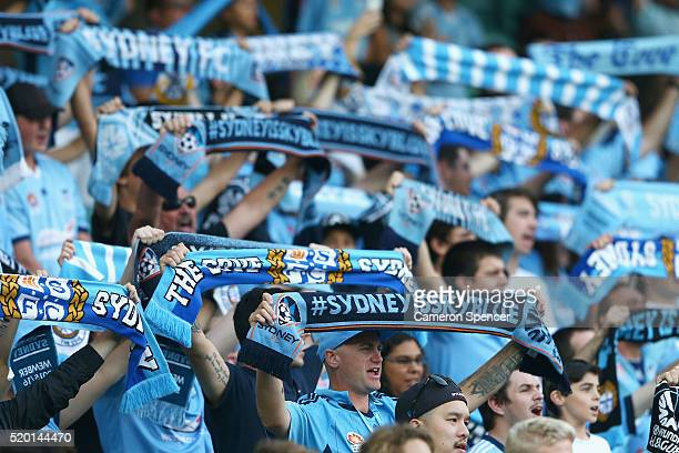 Sydney FC fans sing during the round 27 ALeague match between Sydney FC and Perth Glory at Allianz Stadium on April 10 2016 in Sydney Australia