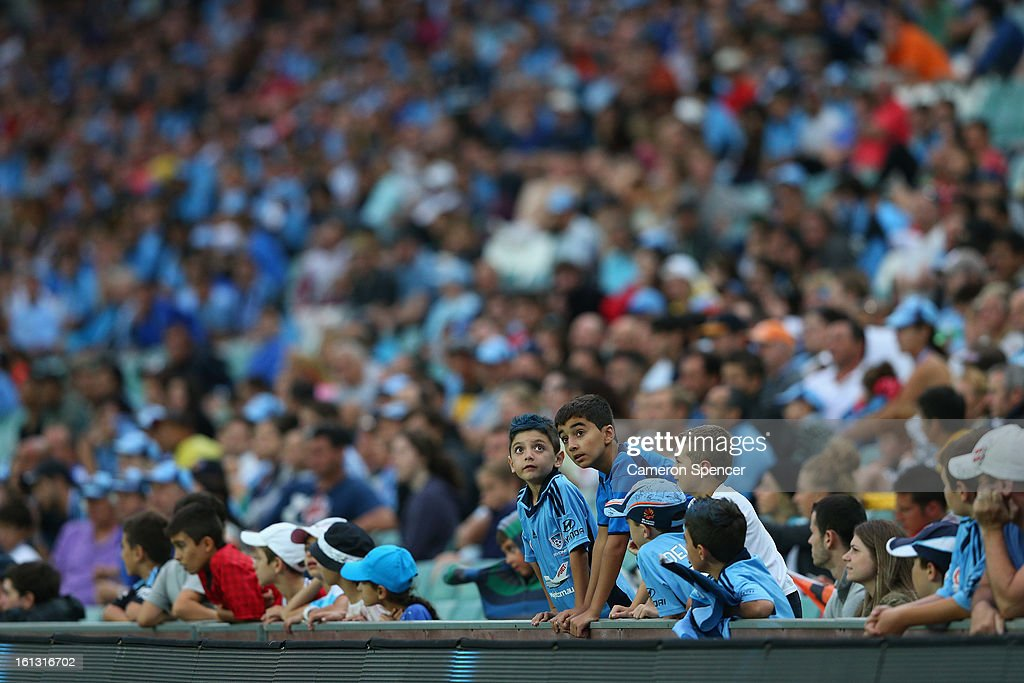 Sydney FC fans watch the action during the round 20 A-League match between Sydney FC and the Brisbane Roar at Allianz Stadium on February 10, 2013 in Sydney, Australia.