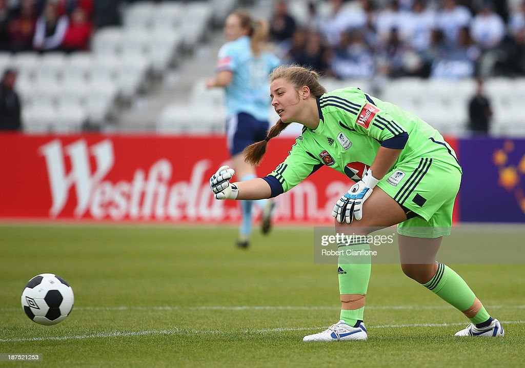 Sydney FC goalkeeper Casey Dumont puts the ball into play during the round one W-League match between the Melbourne Victory and Sydney FC at Lakeside Stadium on November 10, 2013 in Melbourne, Australia.