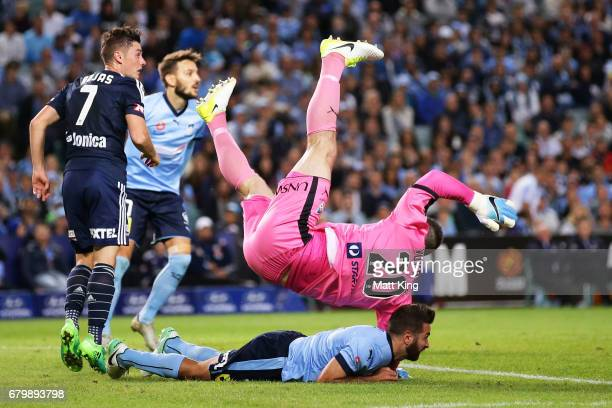 Sydney FC goalkeeper Danny Vukovic falls awkwardly during the 2017 ALeague Grand Final match between Sydney FC and the Melbourne Victory at Allianz...