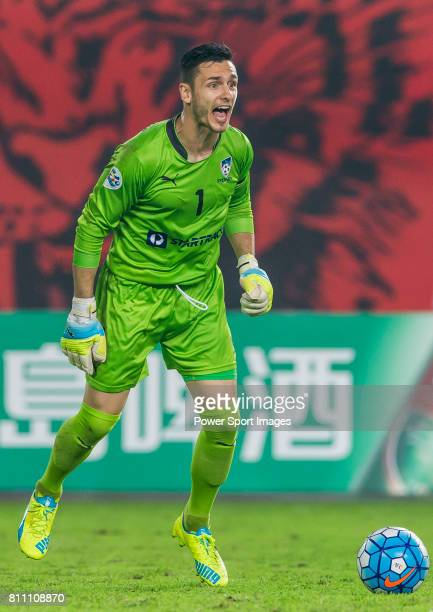 Sydney FC goalkeeper Vedran Janjetovic in action during the AFC Champions League 2016 Group Stage Match Day 6 between Guangzhou Evergrande vs Sydney...