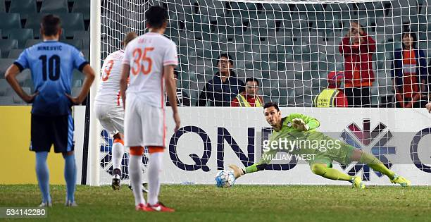 Sydney FC goalkeeper Vedran Janjetovic saves a penalty taken by Shandong Luneng player Diego Tardelli Martins during their AFC Champions League round...