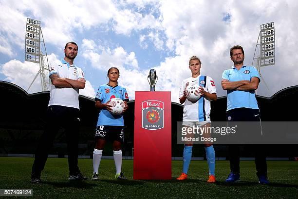 Sydney FC head coach Dan Barrett and captain Teresa Polias and Melbourne City FC head coach Joe Montemurro and captain Steph Catley pose during a...