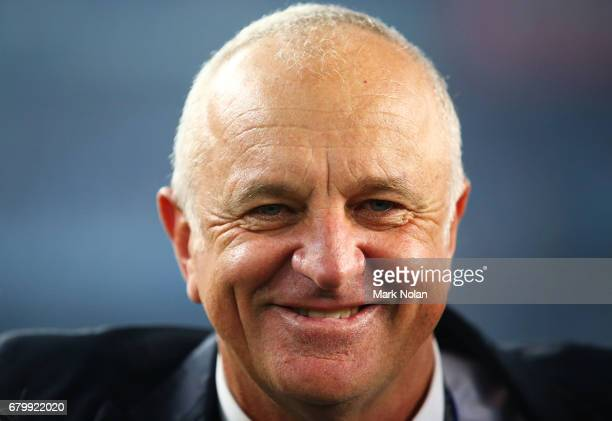 Sydney FC head coach Graham Arnold celebrates after winning the 2017 ALeague Grand Final match between Sydney FC and the Melbourne Victory at Allianz...