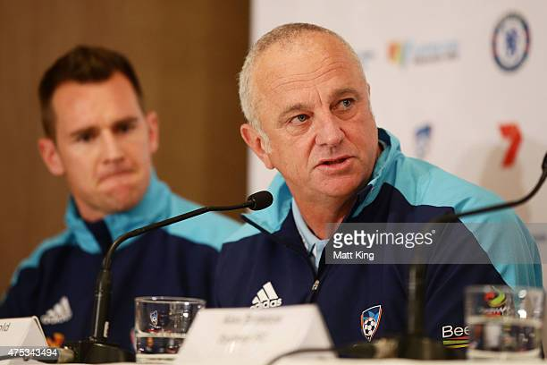 Sydney FC head coach Graham Arnold speaks to the media during a press conference at the Park Hyatt Hotel on May 31 2015 in Sydney Australia