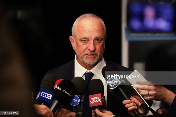 Sydney FC head coach Graham Arnold speaks to the media during the Sydney FC 2017/18 ALeague Season Launch at the Westin on October 4 2017 in Sydney...