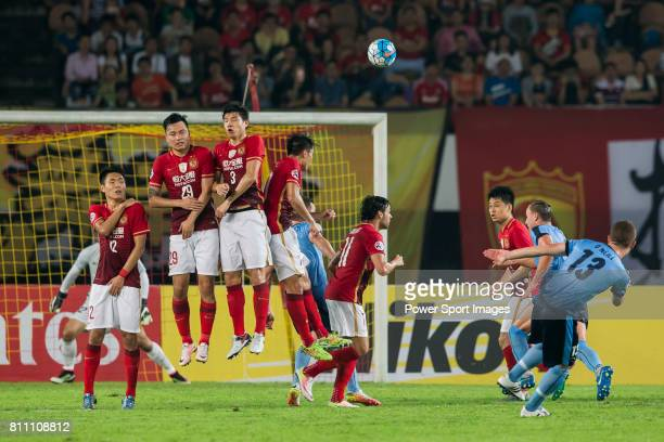 Sydney FC midfielder Brandon O'neill attempts a freekick during the AFC Champions League 2016 Group Stage Match Day 6 between Guangzhou Evergrande vs...
