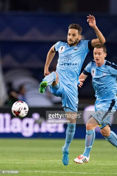 Sydney FC midfielder Milos Ninkovic kicks the ball downfield at the FFA Cup Final Soccer between Sydney FC and Adelaide United on November 21 2017 at...