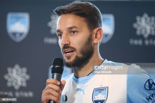 Sydney FC player Milos Ninkovic talks to media during a Sydney FC ALeague sponsorship announcement at The Star on October 19 2017 in Sydney Australia