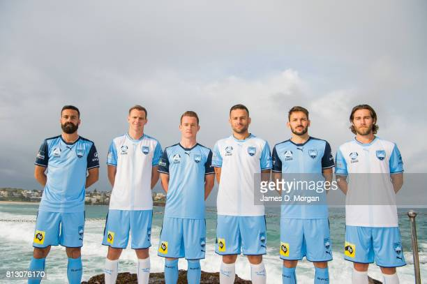 Sydney FC Players Alex Brosque Alex Wilkinson Brandon O'Neil Bobo Milos Ninkovic and Josh Brillante during the unveiling of the Sydney FC 2017/18...