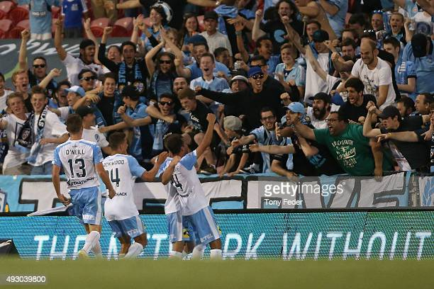 Sydney FC players celebrate a goal during the round two ALeague match between the Newcastle Jets and Sydney FC at Hunter Stadium on October 17 2015...
