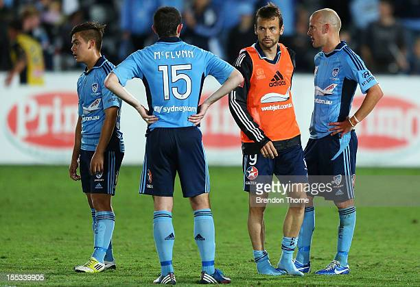 Sydney FC players look dejected at full time during the round five ALeague match between the Central Coast Mariners and Sydney FC at Bluetongue...